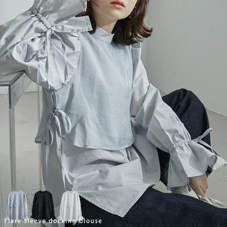 ボリュームスリーブ スイッチングブラウス サイドスリット | Fashion Letter | 詳細画像1