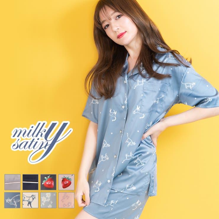 milky-satin半袖パジャマシャツ・ハーフパンツ上下セット   詳細画像