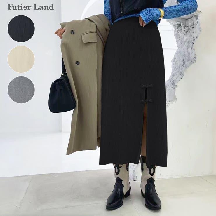 ニットスカート チャイナボタン スリットスカート   futier land   詳細画像1