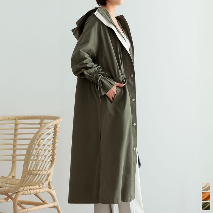 レディライクなロングミリタリージャケット 袖ベルトロング丈ミリタリージャケット | Re:EDIT | 詳細画像1