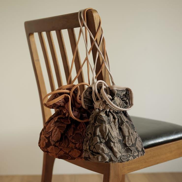 花をかたどったようなデザイン巾着バッグ ボタニカルシアー巾着バッグ バッグ   Re:EDIT   詳細画像1