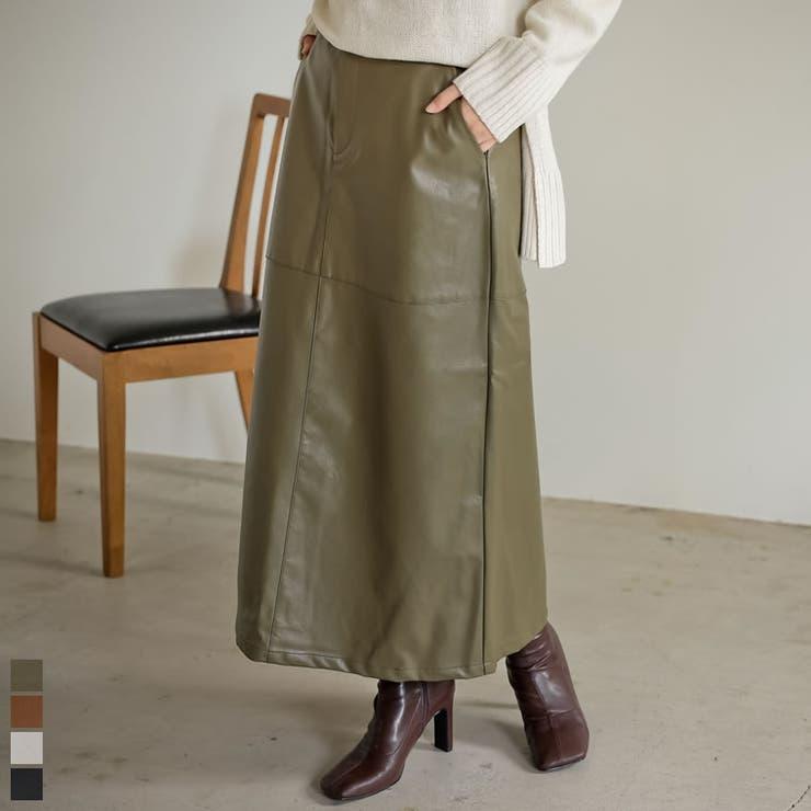 大人顔のフェイクレザースカート エコレザーロングスカート スカート | Re:EDIT | 詳細画像1