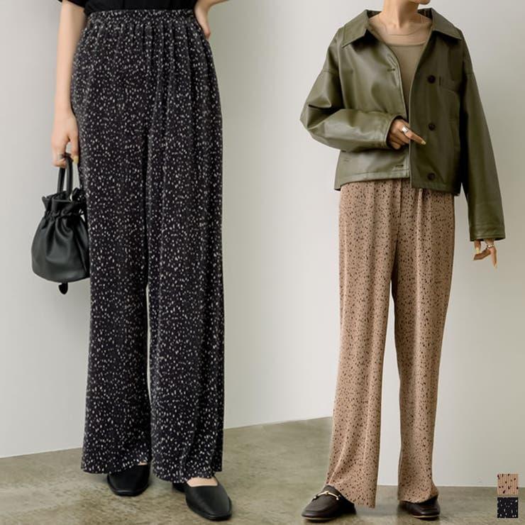 ニュアンス感のある柄でトレンドの着こなしに プリーツダルメシアンパンツ パンツ   Re:EDIT   詳細画像1