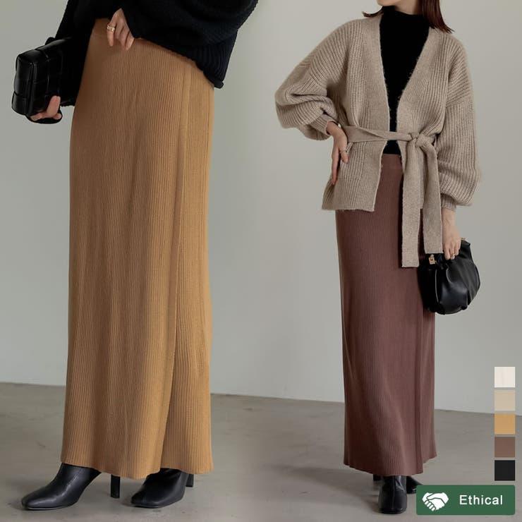 大人の洗練された雰囲気のリブニットスカート リブニットラップスカート スカート | Re:EDIT | 詳細画像1