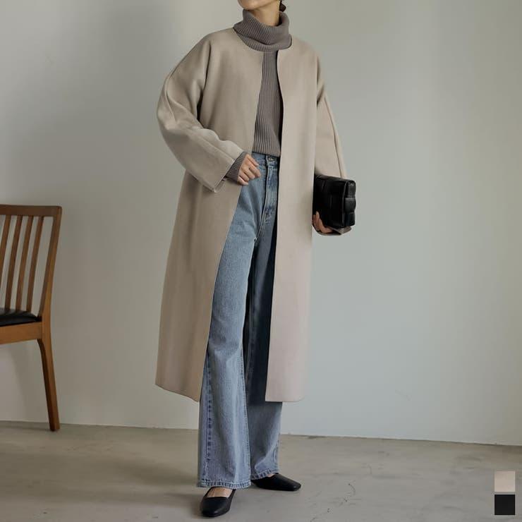 オンオフ問わずさっと羽織れる フェイクウールミドル丈コクーンノーカラーコート | Re:EDIT | 詳細画像1
