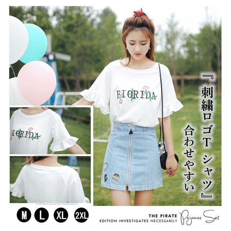 かわいい刺繍をあしらったTシャツ♪ | sun eight | 詳細画像1