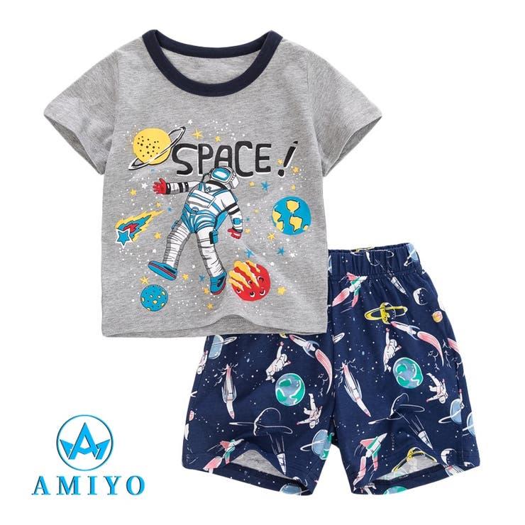 SPACE プリント 半袖Tシャツ・パンツ セットアップ 8058 | Amiyo | 詳細画像1