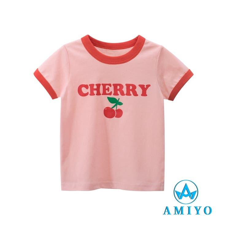 CHERRYプリント バイカラーTシャツ 8113 | Amiyo | 詳細画像1