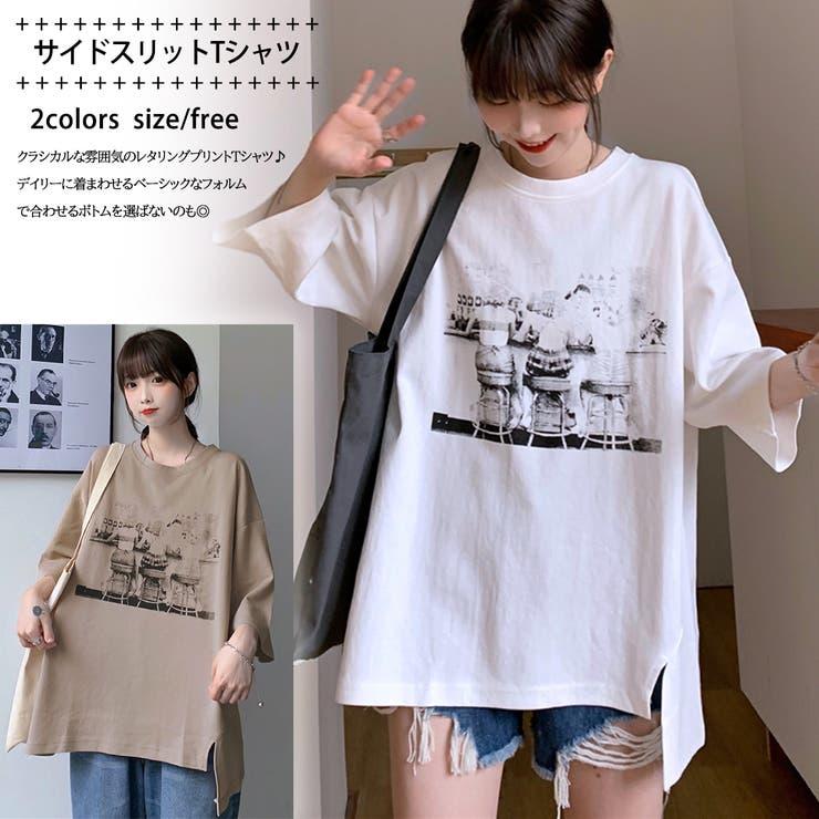 サイドスリット 点描プリントTシャツ 8401 | G&L Style | 詳細画像1