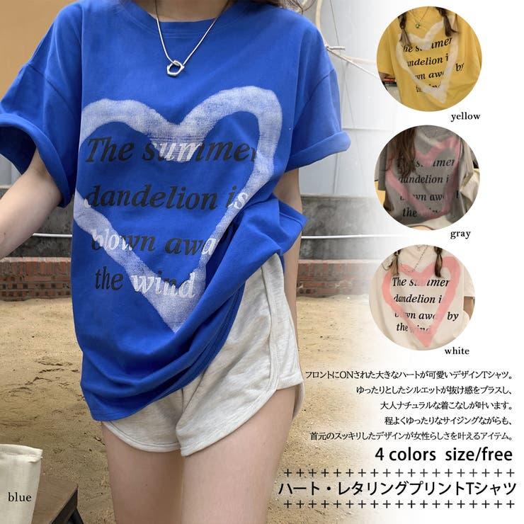 ハート・レタリングプリントTシャツ 8431 | G&L Style | 詳細画像1