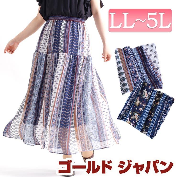 パッチワーク風花柄ギャザースカート | 詳細画像