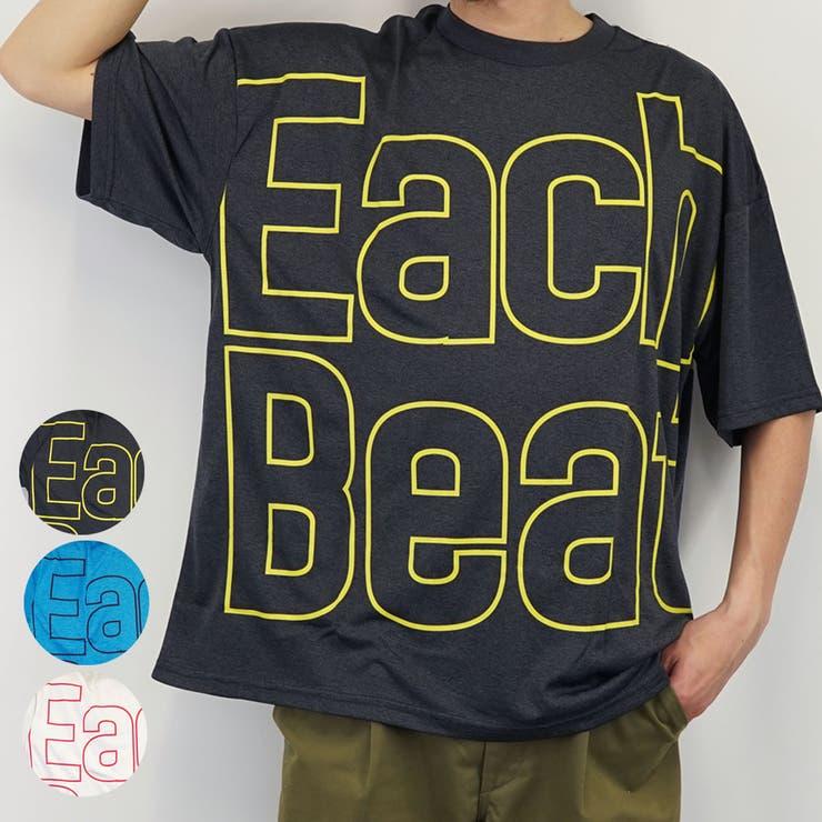 EachBeatカチオン天竺デカロゴワイド半袖Tシャツ   詳細画像