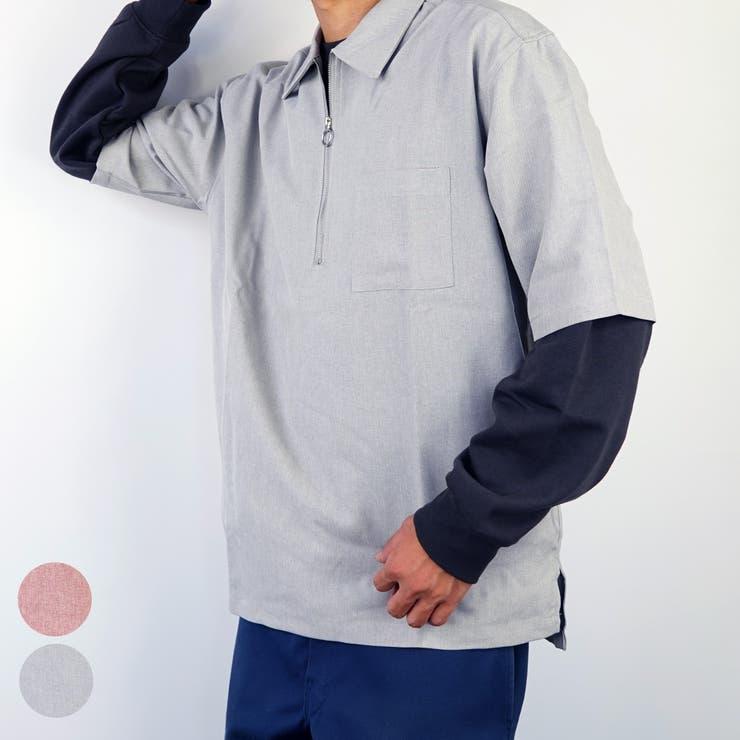 ビックシルエットリングジップトロピカルオックスハーフジップシャツ   GROOVY STORE   詳細画像1