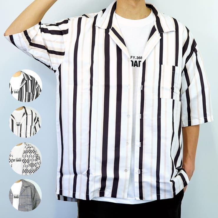 レトロ調ワイドシルエットオープンカラーシャツ | 詳細画像