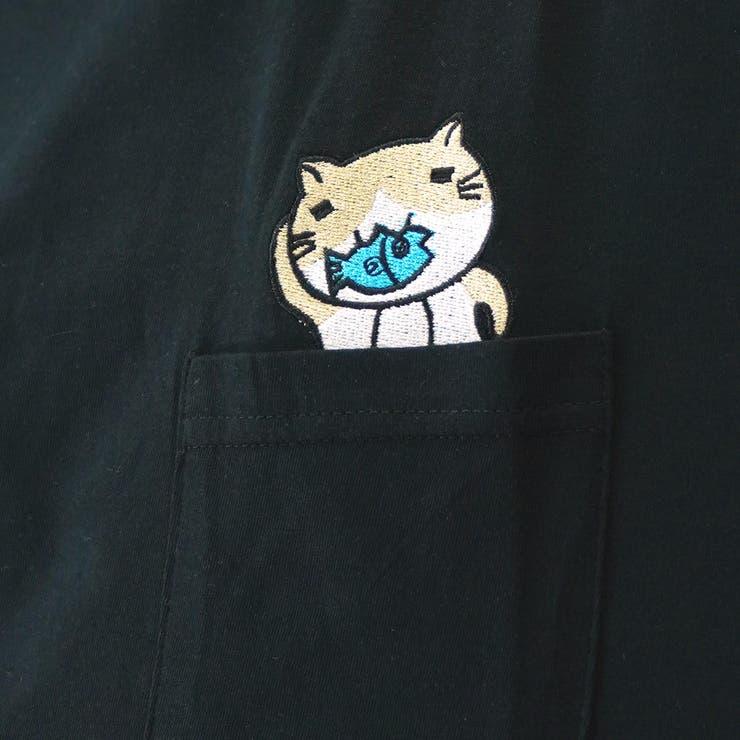 猫渕さん胸ポケットイン刺繍猫渕さん半袖Tシャツ | GROOVY STORE | 詳細画像1