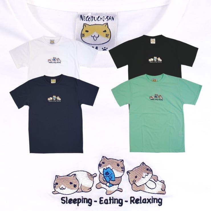 ねこぶちさん「sleepingeatingrelaxing」クルーネック刺繍半袖Tシャツ寝る食べるくつろぐ編COOL&DRY   詳細画像