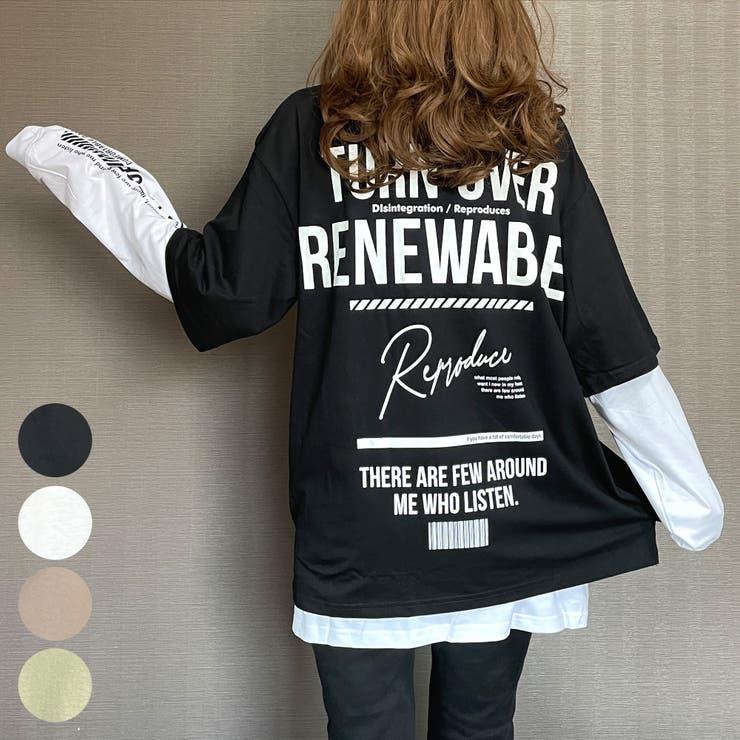 ビッグシルエットバックプリントレイヤードロングスリーブTシャツ刺繍RY | GROOVY STORE | 詳細画像1