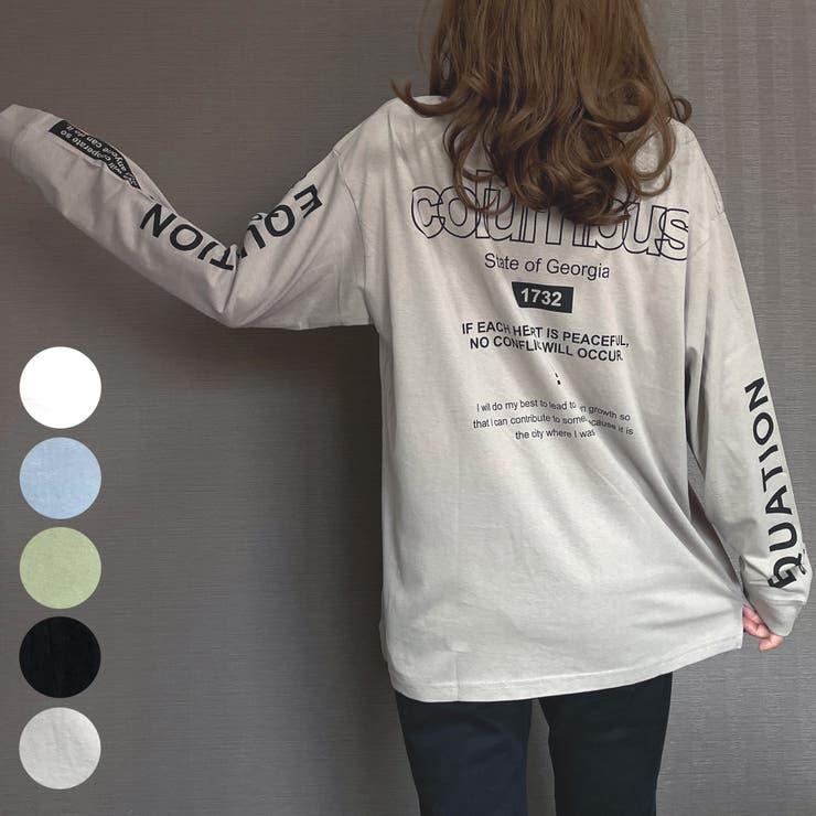 ビッグシルエットバックプリント刺繍ロングスリーブTシャツColumbus   GROOVY STORE   詳細画像1