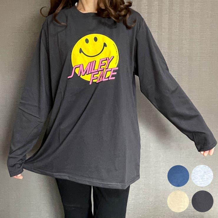 SMILEYFACEスマイルロングスリーブTシャツ | GROOVY STORE | 詳細画像1