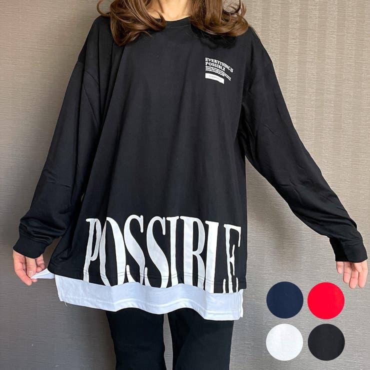 ビッグシルエット裾デカロゴロングスリーブTシャツPOSSIBLE | GROOVY STORE | 詳細画像1