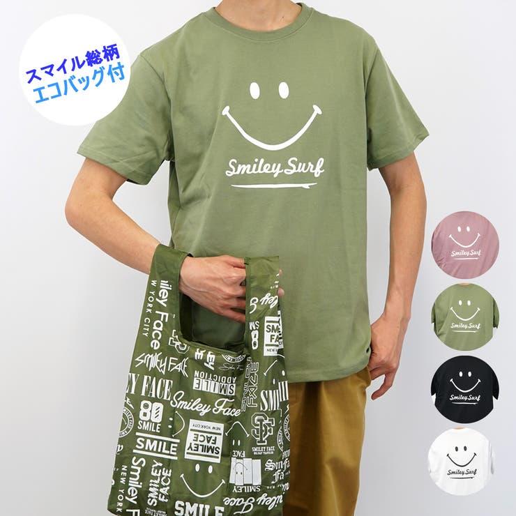 【エコバッグ付き】SMILEYFACEスマイル半袖TシャツSURF | 詳細画像