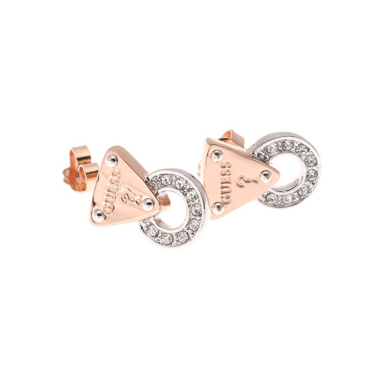 [GUESS] E-EARST LOCK PAV CIRCLE PIERCE ROSE GOLD/SILVER