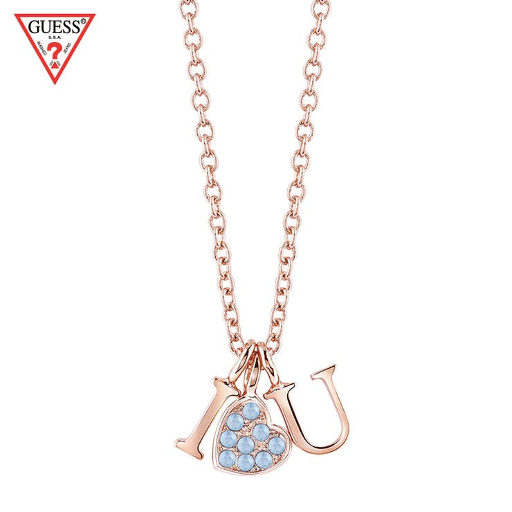 [GUESS] I LOVE U CHARM NECKLACE ROSE GOLD
