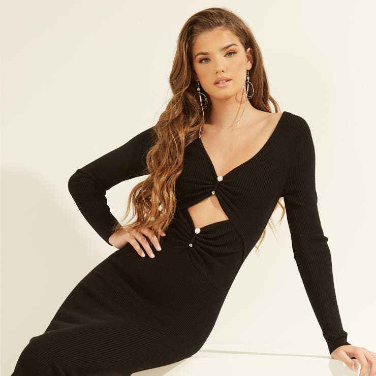[GUESS] Pierced Gianna Ribbed Dress | GUESS【WOMEN】 | 詳細画像1