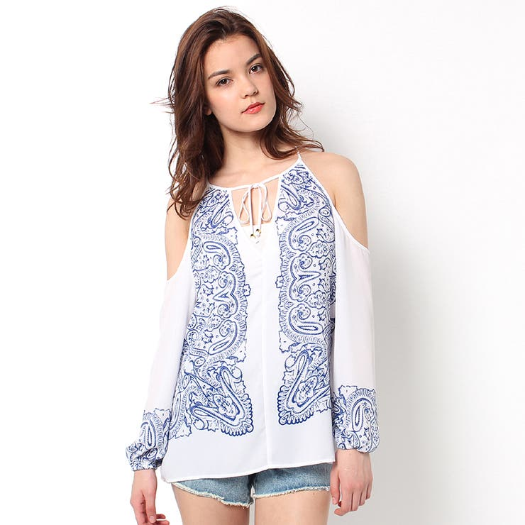 [GUESS] L/S PAISLEY SCARF TOP