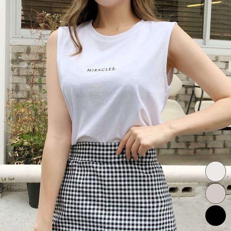 ロゴ入りノースリーブtシャツ ノースリーブtシャツ レディース | Happy Shop | 詳細画像1