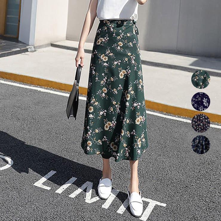 パレオ巻きAライン フラワースカート 花柄   Happy Shop   詳細画像1