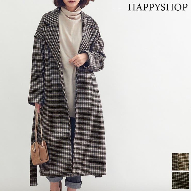 オーバーチェック ガウン風チェスターコート オーバーサイズ   Happy Shop   詳細画像1