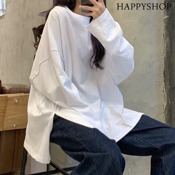 シンプルロングTシャツ レディース トップス | Happy Shop | 詳細画像1