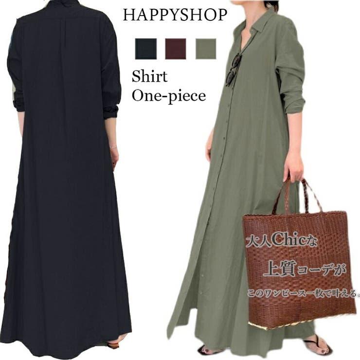 マキシシャツワンピース レディース ワンピース   Happy Shop   詳細画像1