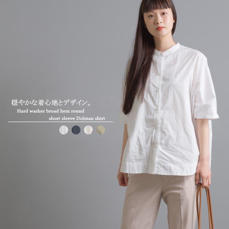 【OMNES】ハードワッシャーブロード 裾ラウンド半端袖ドルマンシャツ   haptic   詳細画像1