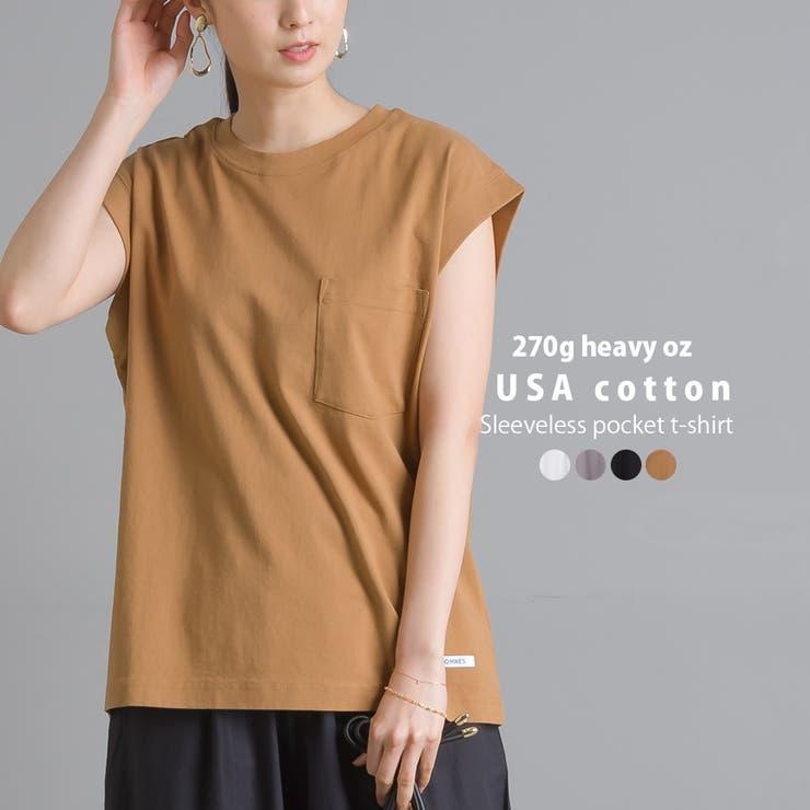 【OMNES】USAコットン ノースリーブポケットTシャツ   haptic   詳細画像1