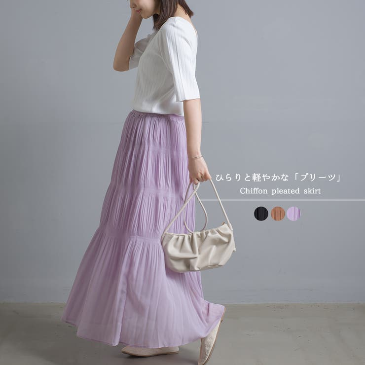【OMNES】シフォンプリーツスカート | haptic | 詳細画像1