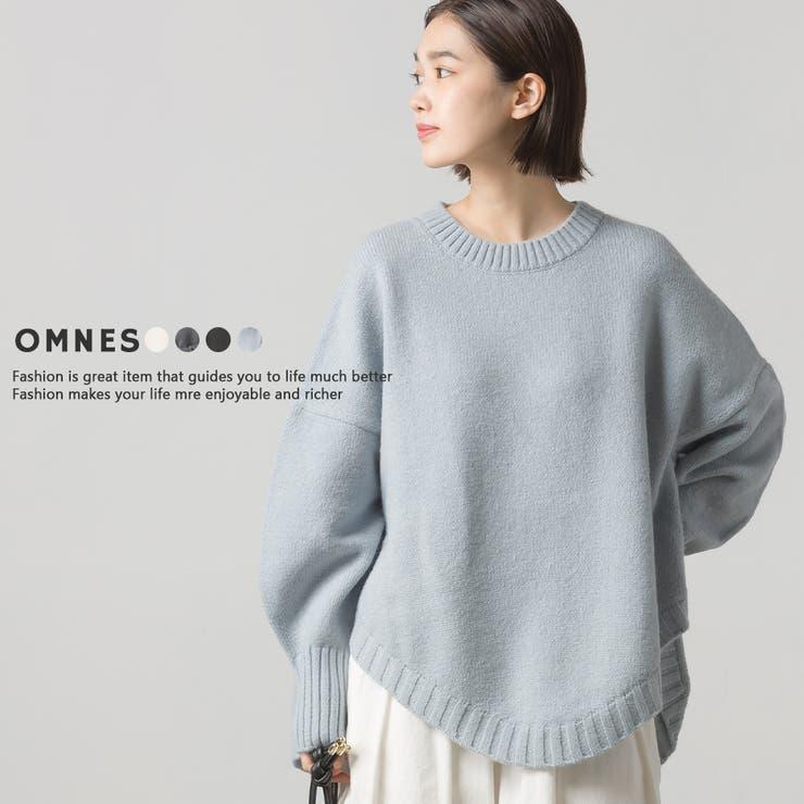 【OMNES】ウールアルパカ混 裾ラウンドオーバーニットプルオーバー | haptic | 詳細画像1