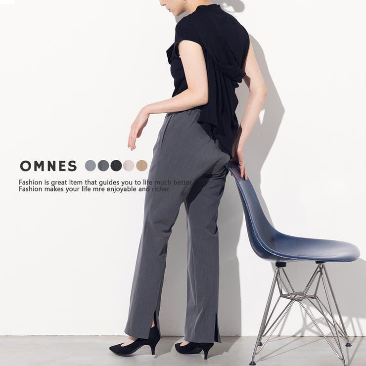 【OMNES】TRストレッチ裾スリットパンツ | haptic | 詳細画像1