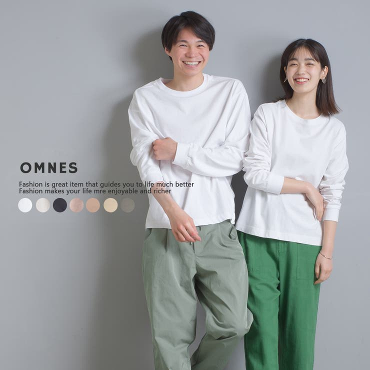 【OMNES】ユニセックス 製品洗い 無地長袖Tシャツ | haptic | 詳細画像1