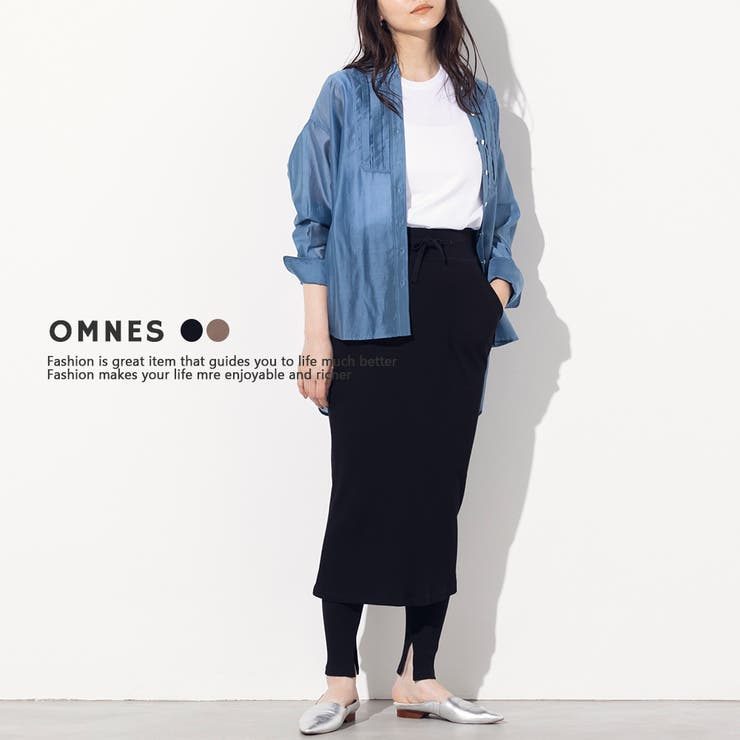 【OMNES】スリット入リブタイトスカート リブレギンスセット   haptic   詳細画像1