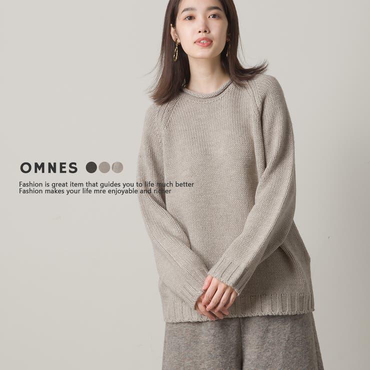 【OMNES】アルパカ混 ローゲージ衿くるくるプルオーバーニット | haptic | 詳細画像1