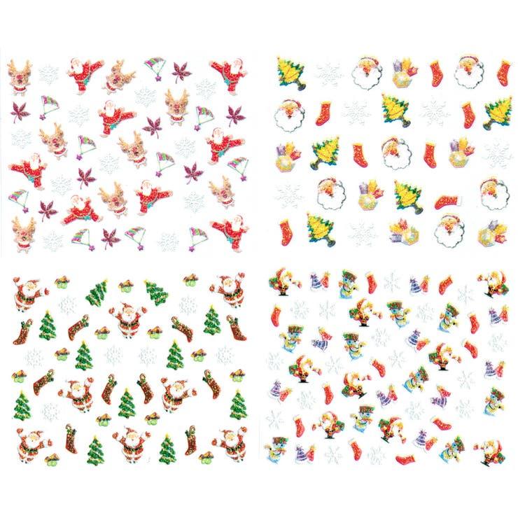 クリスマス ネイルシール4枚セット【ネイルアート/ネイルパーツ/ペディキュア/雪の結晶/サンタクロース/トナカイ/クリスマスツリー/雪だるま】