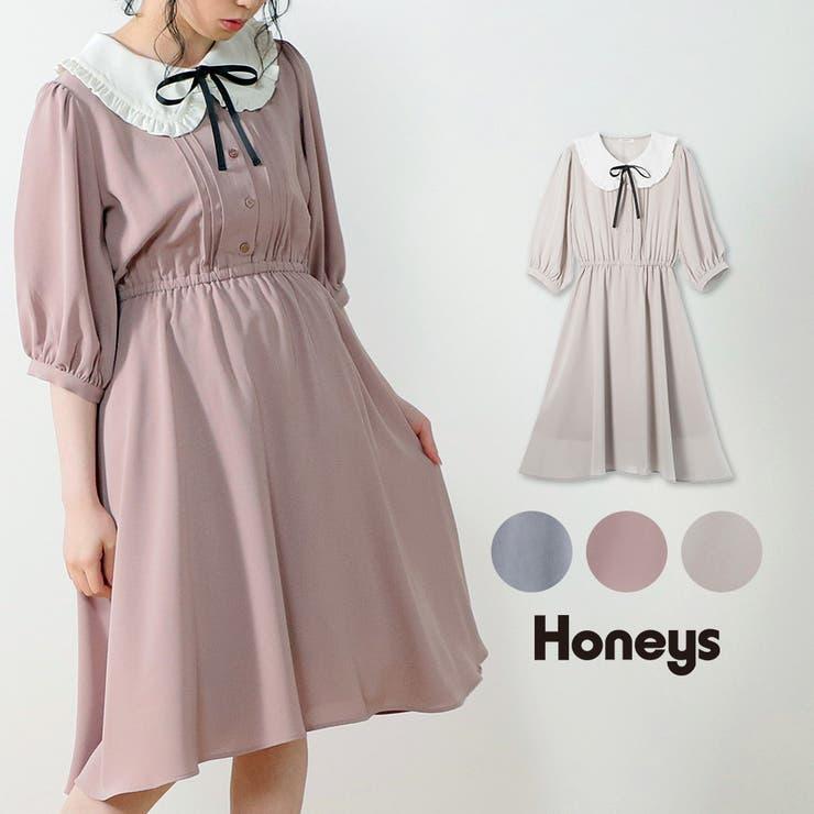 ワンピース 衿付き 6分袖 | Honeys | 詳細画像1