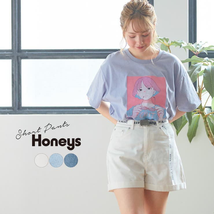 パンツ ショートパンツ 綿   Honeys   詳細画像1