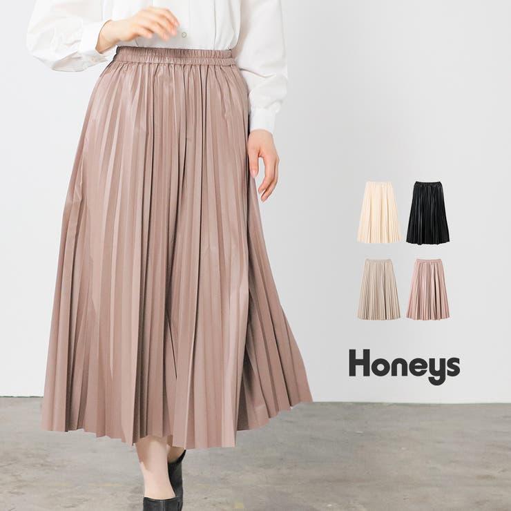 スカート プリーツスカート 合皮   Honeys   詳細画像1