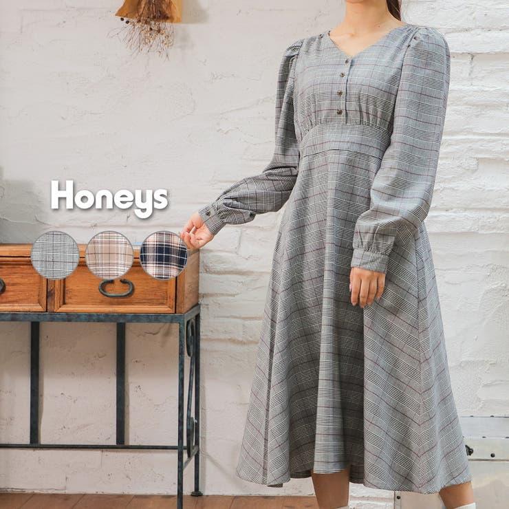 ワンピース 長袖 チェック | Honeys | 詳細画像1