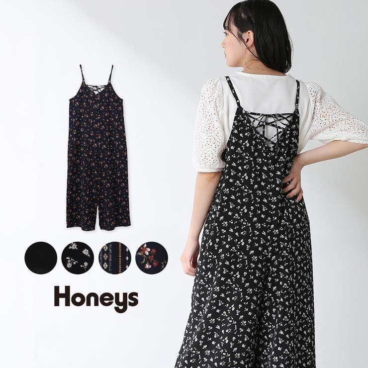 オールインワン 花柄 無地   Honeys   詳細画像1