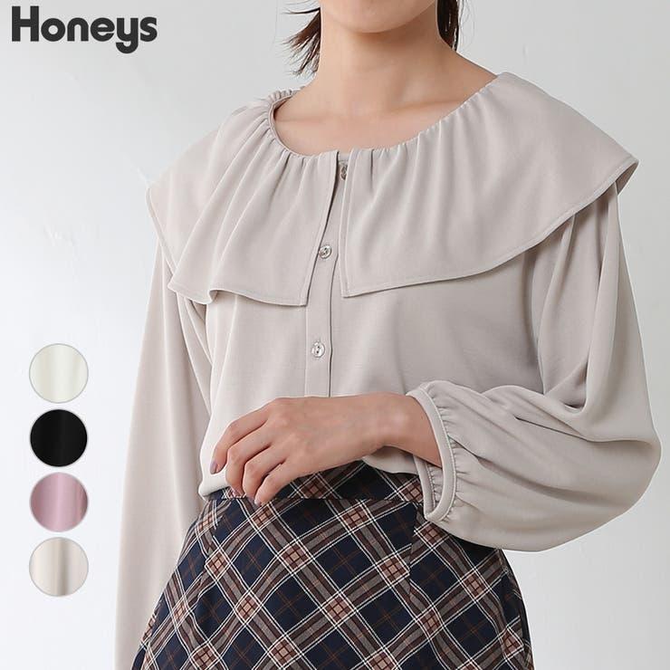 トップス 8分袖 衿付き   Honeys   詳細画像1