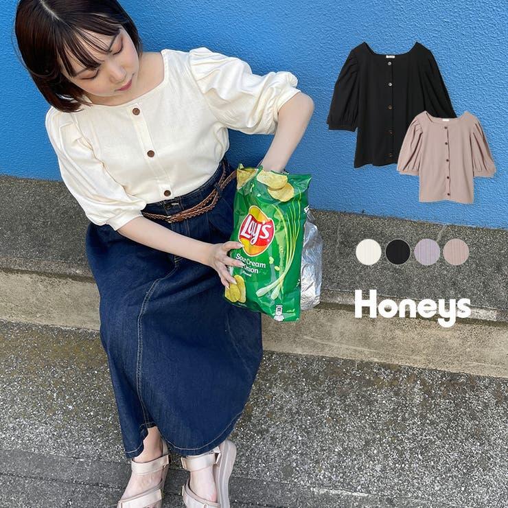 トップス プルオーバー 5分袖 | Honeys | 詳細画像1